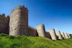 Defensive Walls. Avila. Medieval city walls in Avila, Spain. Considered the best preserved in Europe Stock Photo