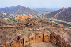 Defensive walls of Jaigarh Fort on Aravalli Hills near Jaipur, R. Ajasthan, India. The fort was built by Jai Singh II in 1726 to protect the Amber Fort Royalty Free Stock Images