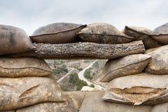Defensivt stridighetpos. i Alcubierre, Spanien Arkivbilder