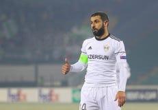 Defensor azerbaijano Rashad Sadygov do futebol fotografia de stock