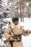 Defensor de Stalingrad en una forma del invierno Imagen de archivo libre de regalías