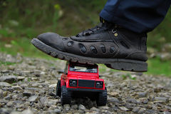 Defensor rojo de land rover Fotografía de archivo libre de regalías