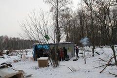 Defensores da floresta de Khimki do acampamento do inverno Fotografia de Stock Royalty Free