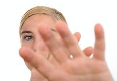 defensywna kobieta obrazy stock