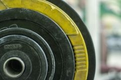 Deferent weights in fitness center. royalty free stock image