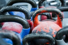 Deferent weights in fitness center. royalty free stock photo
