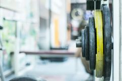 Deferent weights in fitness center. Sport gym. stock photo