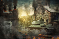 A defesa do tanque destruiu o campo imagem de stock royalty free