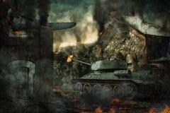 A defesa do tanque destruiu o campo Imagens de Stock Royalty Free