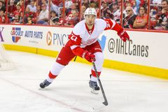 Defesa Kyle Quincey dos Detroit Red Wings Fotos de Stock