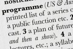 Defi de dictionnaire de mot de programme Photographie stock