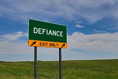 US Highway Exit Sign for Defiance. Defiance `EXIT ONLY` US Highway / Interstate / Motorway Sign royalty free stock photos