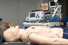Defibrillator on a dummy for practice Royalty Free Stock Photography