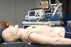 Defibrillator on a dummy for practisse Royalty Free Stock Images