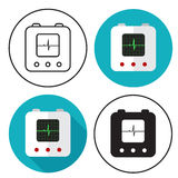 Defibrillator icon set Royalty Free Stock Photography