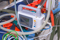 Defibrillator and medical equipments for Emergency Medical Service Stock Images