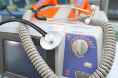 Defibrillator and stethoscope Royalty Free Stock Images