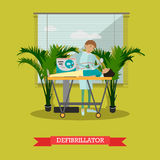 Defibrillator vector illustration in flat style Royalty Free Stock Image