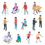 Deficientes motores isométricos Pessoas com ferimento na cadeira de rodas, com membros protéticos, cortinas e pessoas adultas Vet ilustração stock