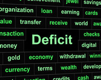 Deficit Debts Means Financial Obligation And Arrears. Debts Deficit Showing Finance Owning And Liabilities Royalty Free Stock Photography