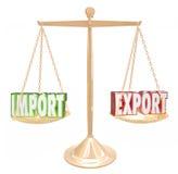 Deficit do excesso de equilíbrio de comércio da escala das palavras da exportação da importação Foto de Stock Royalty Free
