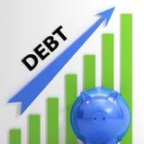 Deficit e empréstimo das contas de mostras do gráfico do débito Fotos de Stock