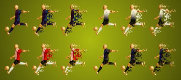 Defienda el grupo B, uniformes coloridos de los jugadores de fútbol, 4 t de la liga del ` s stock de ilustración