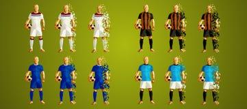 Defienda el grupo F, uniformes coloridos de los jugadores de fútbol, 4 de la liga del ` s stock de ilustración