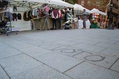 """Defienda pintada de su †del voto """"en la calle durante consideraciones catalanas de la independencia fotos de archivo libres de regalías"""