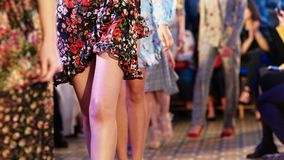 Defile on fashion week. Fashion models showing new clothes collection at fashion week royalty free stock photos