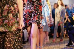 Defile on fashion week. Fashion models showing new clothes collection at fashion week stock image