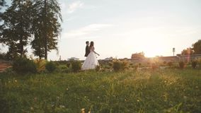 Defile of lovely wedding couple on track at ancient beautiful castle stock video footage