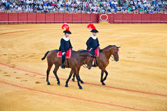 Defile by two cuadrillas at the Real Maestranza de Caballeria de Royalty Free Stock Photos