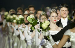 Defileé at the Vienna Ball in Bucharest Stock Images