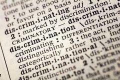 Definição da discriminação para distinguir a diferença imagens de stock royalty free