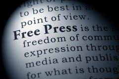 Definição da imprensa livre imagem de stock