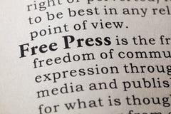Definição da imprensa livre imagem de stock royalty free
