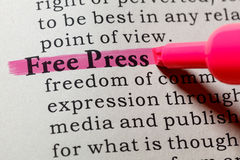 Definição da imprensa livre fotografia de stock royalty free
