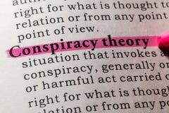 Definição da teoria de conspiração imagens de stock royalty free