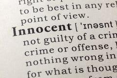 Definição de dicionário da palavra inocente imagem de stock