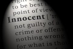 Definição de dicionário da palavra inocente foto de stock