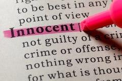 Definição de dicionário da palavra inocente imagem de stock royalty free