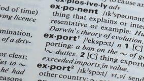 Definição escrita no dicionário, processo da exportação de comércio internacional, economia vídeos de arquivo