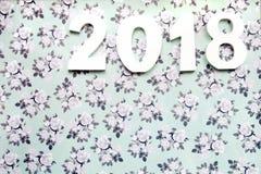 Definições do ano novo 2018 na flor Fotos de Stock Royalty Free