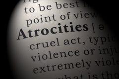 Definición de atrocidades fotografía de archivo