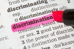 Definición de diccionario de la discriminación imagen de archivo libre de regalías