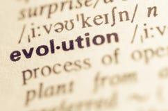 Definición de diccionario de la evolución de la palabra Imágenes de archivo libres de regalías