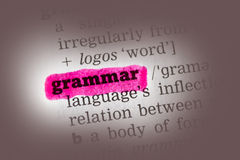 Definición de diccionario de la gramática Foto de archivo