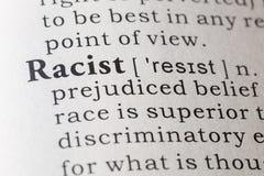 Definición de diccionario del racista foto de archivo libre de regalías