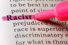 Definición de diccionario del racista imagen de archivo libre de regalías